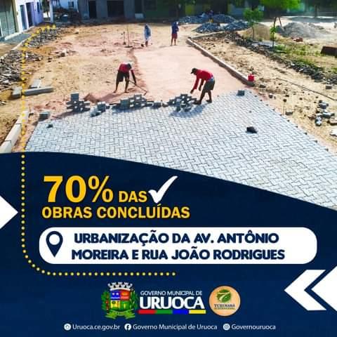 URBANIZAÇÃO DA AVENIDA ANTÔNIO MOREIRA E RUA JOÃO RODRIGUES ESTÃO 70% CONCLUÍDAS