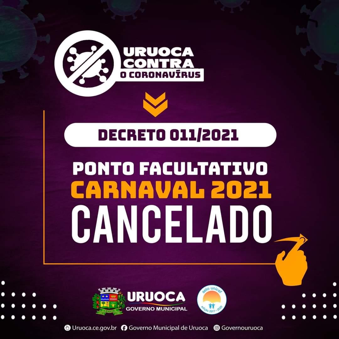 PONTO FACULTATIVO CARNAVAL 2021 CANCELADO